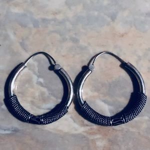 Jewelry - Ethnic Vintage Tribal Sterling Large Coiled Hoops